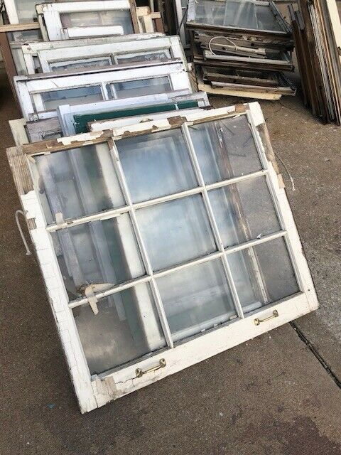 9 Pane Window Antique wood window frame Old Wood Windows Wood Window For Weddung