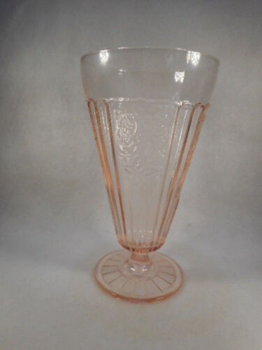 Vintage Anchor Hocking Pink Depression Glass Mayfair Open Rose Footed Parfait