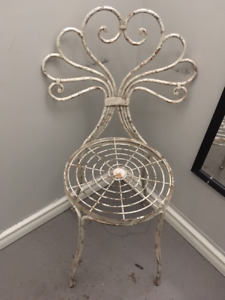 Pair of wrought iron, rustic garden chairs