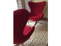 Pair of brand new Egg design chairs in red cashmere