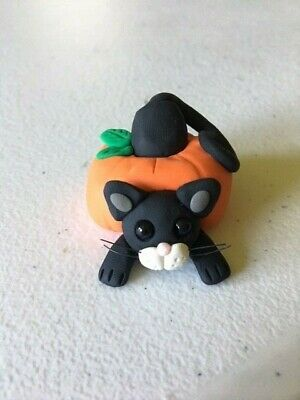 Halloween Cat Through Pumpkin Figure - OOAK