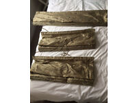 Olive green and gold Roman blinds x 3 suitable for lounge bay window, high quality, collection only