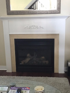 White Fireplace Mantel & Marble surrond
