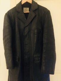 Men's Sam Walker mid length vintage leather coat, size 40, excellent condition