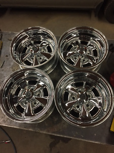"4- Appliance Chrome Wheels 14"" x 7"" Chevy 5 hole bolt pattern."