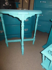 Half moon table or spindle magazine rack, light teal London Ontario image 3