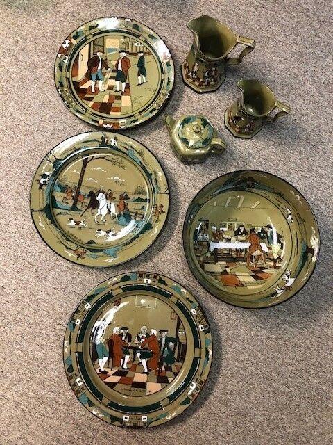 1908 Buffalo Pottery Deldare Ware 7 piece set, Excellent condition