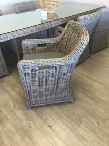 Westmount Square Dining Chair, Full Round Driftwood Wicker NEW!