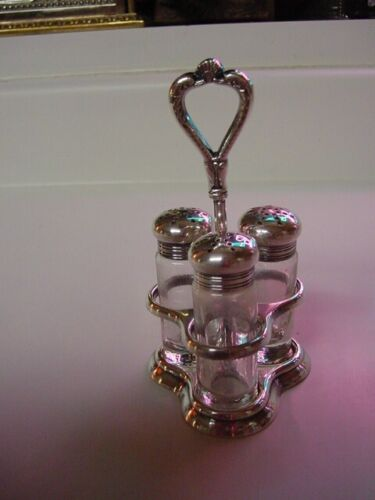 SS UNITED STATES LINES  Silver Condiment Stand  /  Complete  /  Exellent Cond.