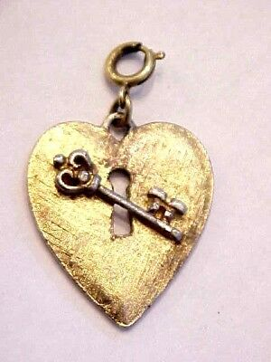 Authentic Vintage MONET Charm HEART LOCK and KEY w/Spring Ring Gold - Lock And Key Costume