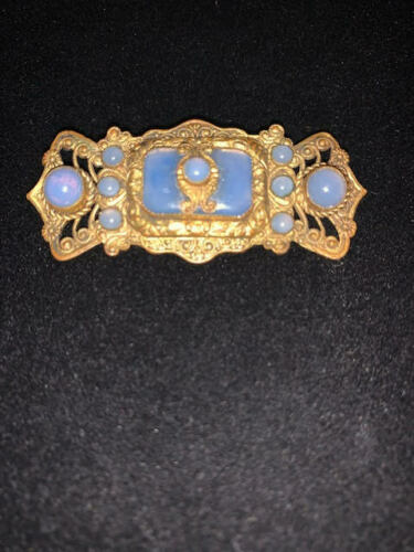 Antique Czechoslovakian Art Deco Gold Tone Pin Brooch w/ Blue Moonstones