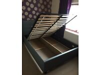 Ottoman Double Storage Bed - Grey