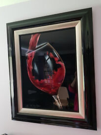 Red Pour by Chris DeRubeis (framed and ready to hang)