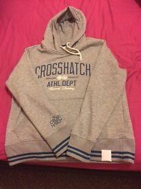 'Crosshatch' Grey hoodie Extra Large