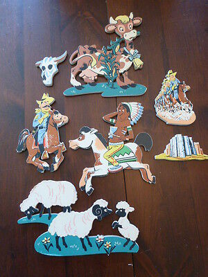 Lot 7 Pieces Dolly Toy co. Vintage Western cowboy pin ups children's wall art