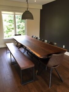 Live Edge Dinning Table, Reclaimed Wood with Two Benches