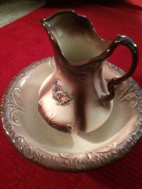 Ironstone Vintage 1890 England Pitcher & Wash Bowl Ceramic Collectible Original