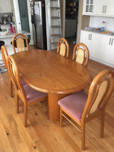 Dinning table, (Butterfly type). Solid oak with 6 chairs