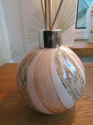 Beautiful Hand Made Amelia Art Glass Reed Diffuser Peach Beige Design boxed Gift