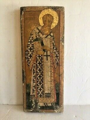 Antique Russian Icon Saint Hand Painted Tempera Oil / Fabric on Wood