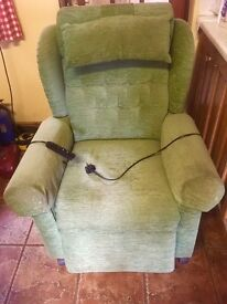 Rise & Recline 1 motor Mobility Chair, Green, VGC. £250