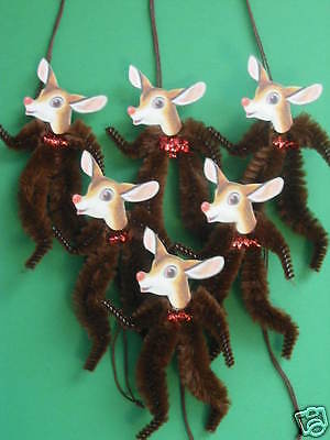 Primitive Vintage Style Christmas Reindeer Ornaments Chenille Feather Tree