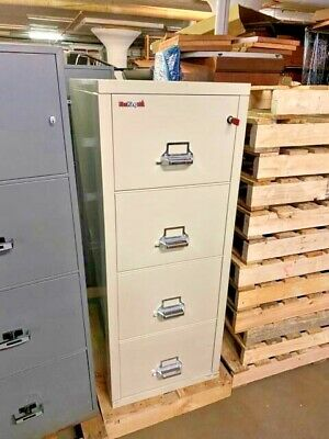 4dr Legal Fire-proof File Cabinet By Fire King W Lock Key In Putty
