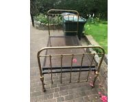Victorian Cast iron and Brass small double bed (queen size)