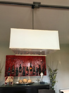 Cream-Coloured Square Pendant Light with Track