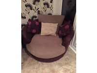 3 piece sofa suite, DFS - 2 x 2 Seater & 1 x Swivel/cuddle chair
