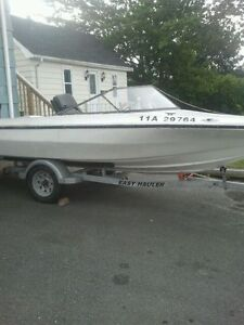 16 Ft,Fibreglass Boat,20H.P.Mercury outboard and NEW Trailer