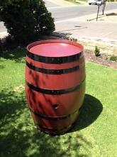 WINE BARREL - JARRAH OILED + GLOSS BLACK RINGS, NOW 20% OFF Ridgehaven Tea Tree Gully Area Preview