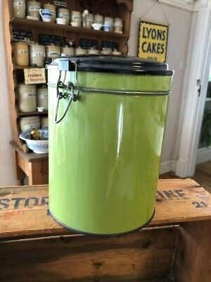 Vintage Lime Green Large Kitchen Storage Jar / Canister Bakelite Lid Kitchenalia