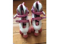 QUAD RACING SKATES FOR GIRLS, SIZE 12J-2, EXCELLENT CONDITION, HARDLY USED, PINK/WHITE