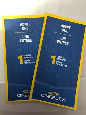 Cineplex Tickets (2) General Admission Tickets for $18 - Gift card