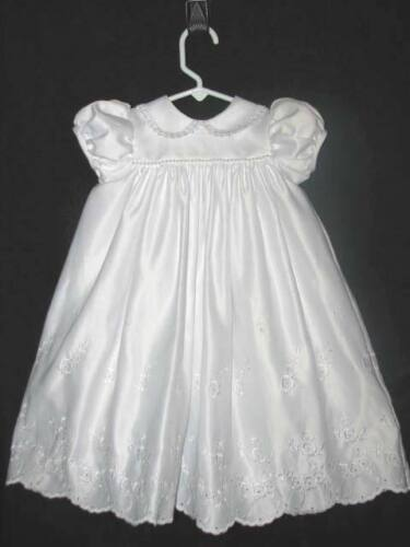 6-9 Mo.Old Girl White Christening Baptism Embroidered & Rice Pearls Gown Dress