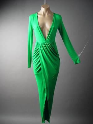 Green Deep Plunge V-Neck Crossover Skirt Jersey Knit Long 124 mv Dress S M L XL - Jersey V-neck Skirt