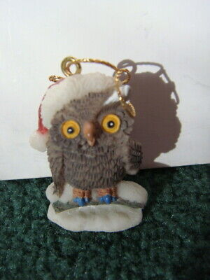 Owl Wearing Santa Hat Christmas Tree Ornament, Resin, Brown Owl