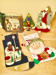 3 Christmas wooden decorations and 2 stockings