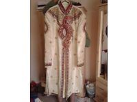 Men's cream, gold & red sharwani suit new