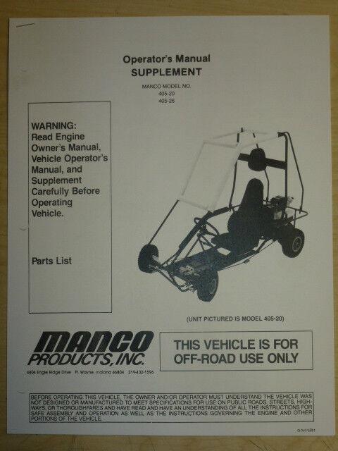 MANCO MODEL 405-20 405-26 GO KART PARTS LIST OPERATORS MANUAL CART