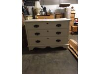 Painted pine chest of drawers with 3 drawers and pretty metal handles