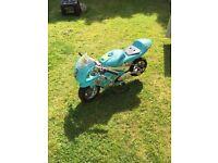 Mini Moto motorbike. Not tested. Blue.