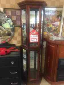 REDUCED TO CLEAR; SOLID WOOD CURIO CABINET WITH LIGHT