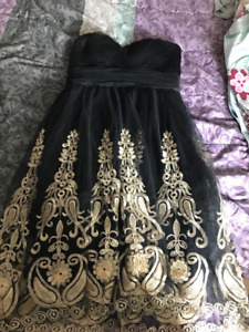 Black formal/prom dress w/ gold accents (worn once)