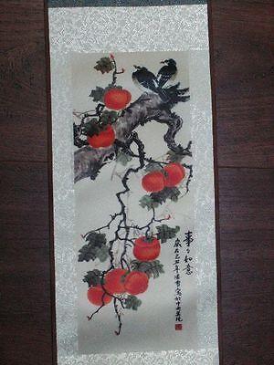 Kalligraphie Kalligrafie Rollbild Malerei Vögel Vogel Blumen Landschaft Baum