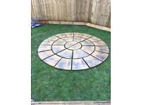 Circular Patio design beige slabs