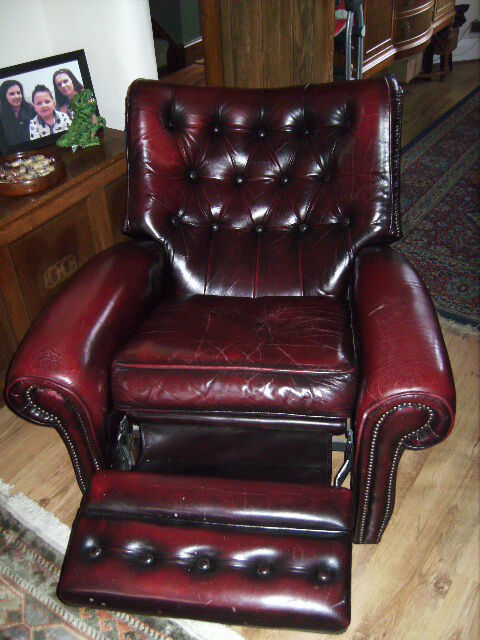 CHESTERFIELD WING BACK LEATHER RECLINING ARMCHAIR- COLOUR ...