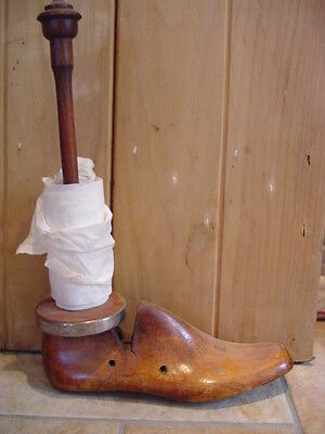 Wacky Old Industrial  Wooden Shoe Last Toilet / Kitchen Roll Holder / Doorstop