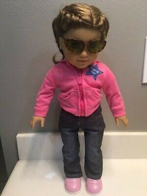 """American Girl Doll 18"""" Bradied Hair Green Eyes with (Blonde Girl With Sunglasses)"""
